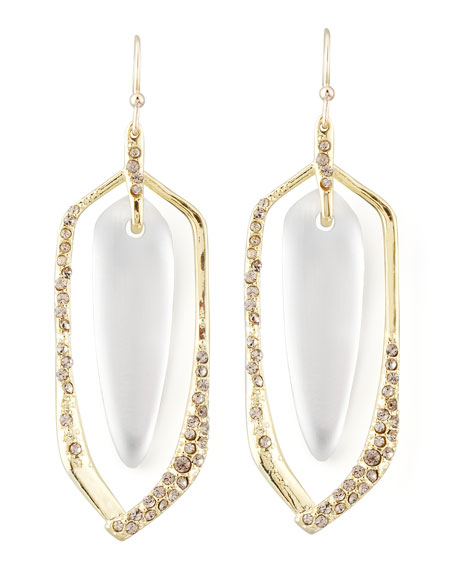Mod Twined Floating Lucite Earrings, Clear