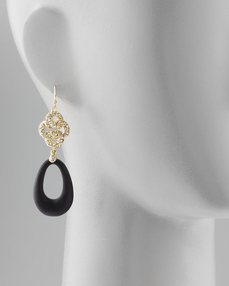 Mod Pave Crystal-Knot Lucite Earrings, Black