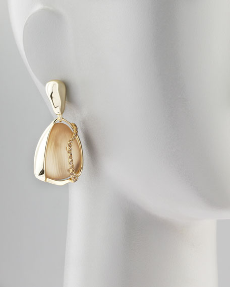 Mod Crystal-Wrapped Lucite Clip Earrings, Taupe