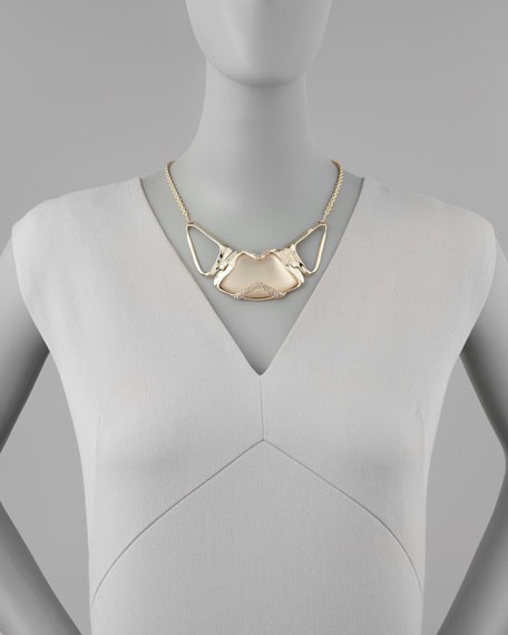 Golden-Encased Lucite Necklace, Taupe