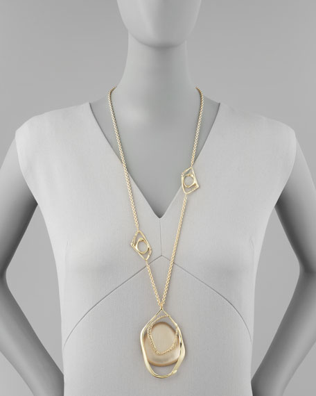 Mod Gold Long Station Necklace, Taupe