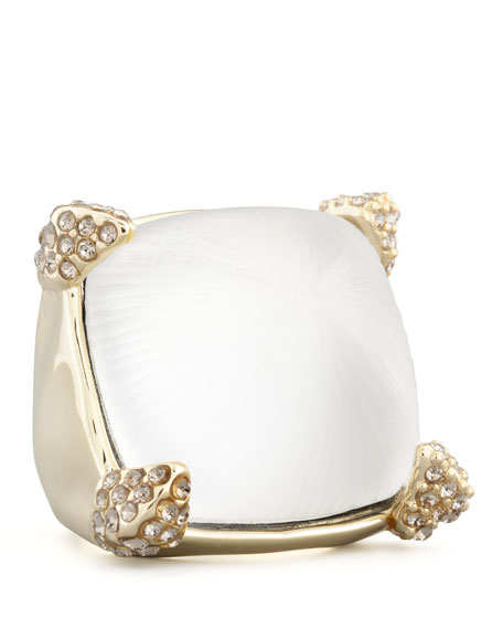 Mod Pave-Pronged Lucite Ring, Clear