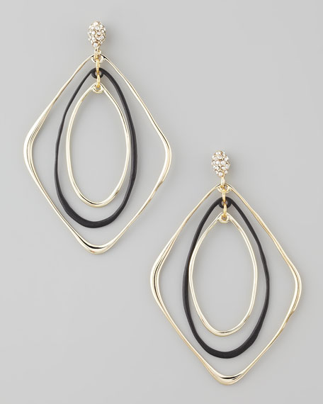 Liquid Orbiting Drop Earrings, Golden/Black