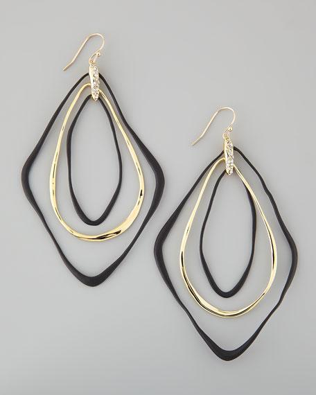 Liquid Orbiting Drop Earrings, Black/Golden