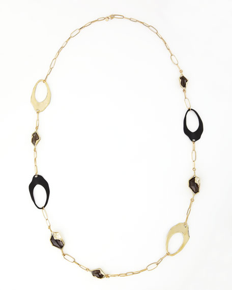 Liquid Light Smoky Quartz Wavy Link Necklace, 40""