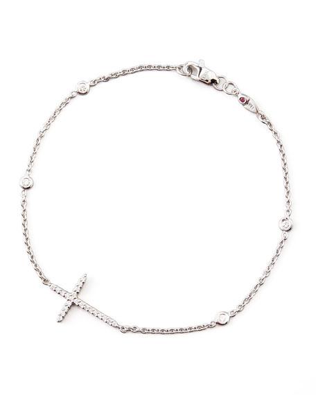 18k White Gold Integrated Diamond Cross Bracelet