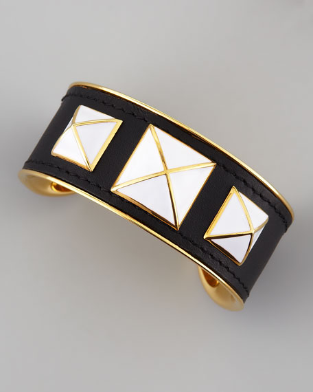 Enamel-Studded Leather Cuff, Black/White