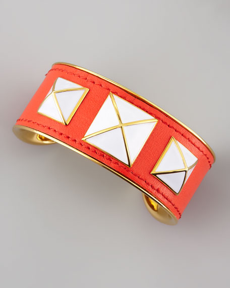Enamel-Studded Leather Cuff, Persimmon/White