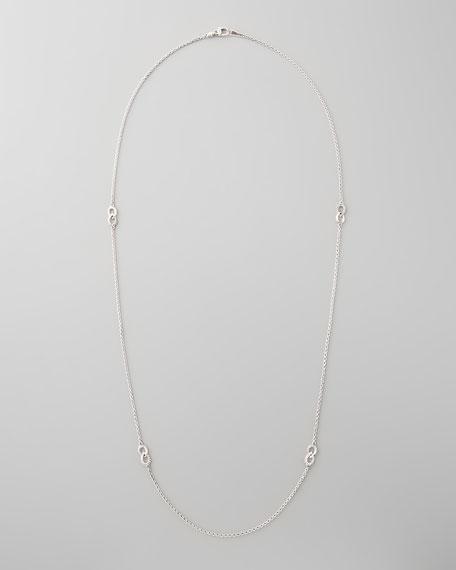 "Silver Caviar Flute-Station Necklace, 34"""