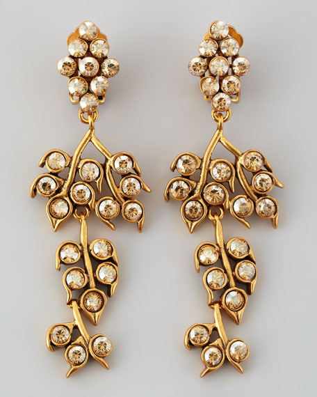 Golden Crystal Shadow Vine Clip Earrings