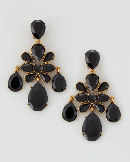 Faceted Chandelier Clip-On Earrings, Black