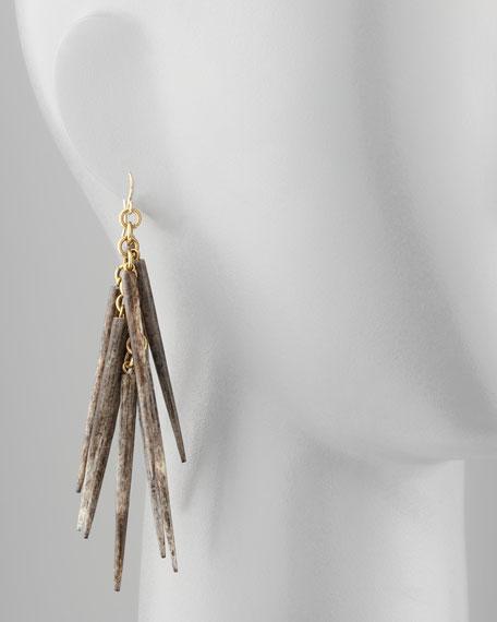 Kura Bone-Spike Earrings, Gray