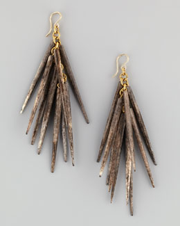 Ashley Pittman Kura Bone-Spike Earrings, Gray