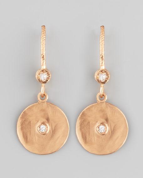 18k Rose Gold Diamond Disc Earrings