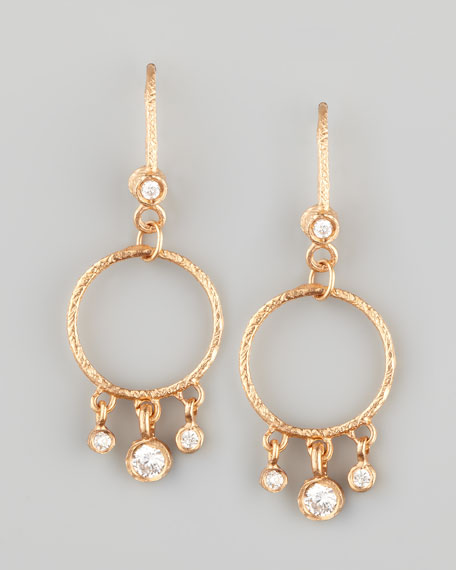18k Rose Diamond-Fringed Classic Round Earrings