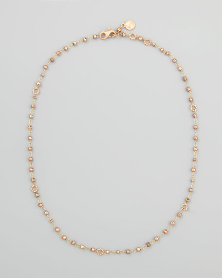 18k Rose Gold Pyrite Delicate Bead Necklace, 20""