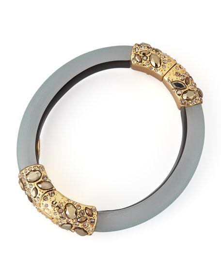 Neo Boho Small Pave Encased Hinge Bracelet, Teal