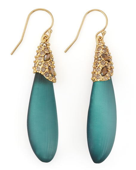 Neo Boho Medium Pave Lucite Drop Earrings, Teal