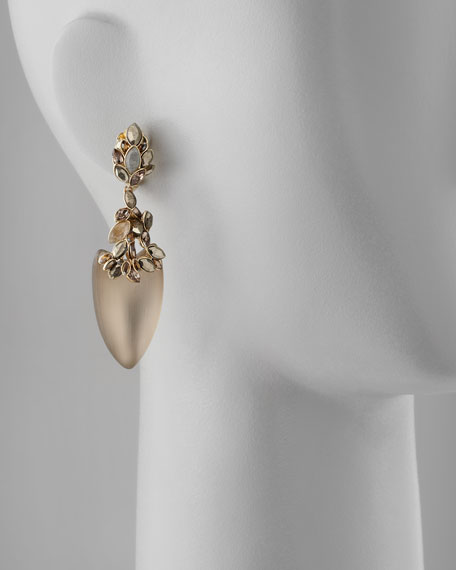 Neo Boho Faceted Marquise Dangle Clip Earrings