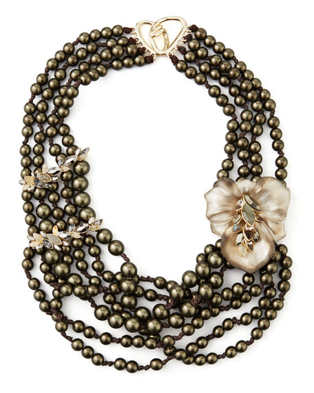 Neo Boho Manmade Pearl Floral Necklace