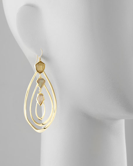 Large Orbiting Aura Fancy Labradorite Earrings