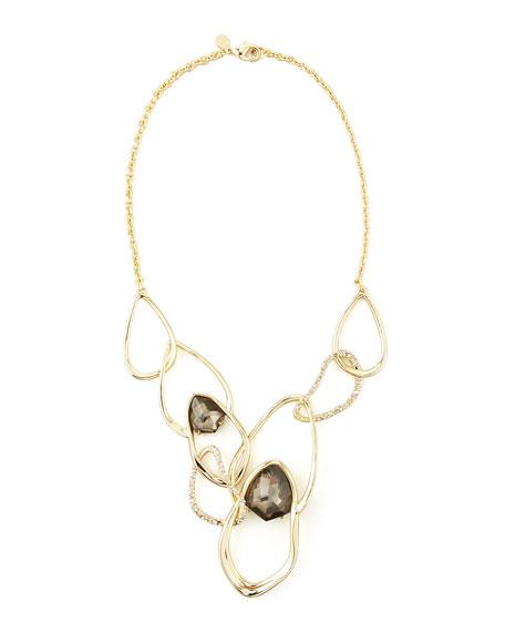 Miss Havisham Orbiting Aura Bib Fancy Pyrite Doublet Necklace