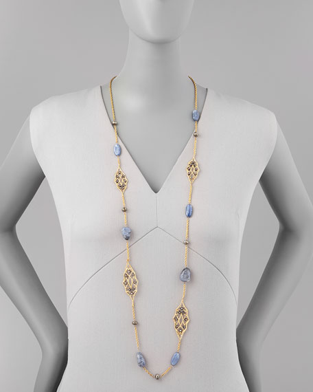 Elements Small Lace Station Necklace with Sodalite, 38""