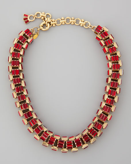 Yellow Gold-Plated Red Crystal Baguette Necklace