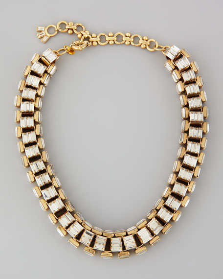 Yellow Gold-Plated Clear Crystal Baguette Necklace