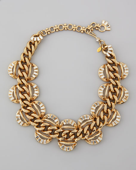 Crystal-Scalloped Chain Necklace