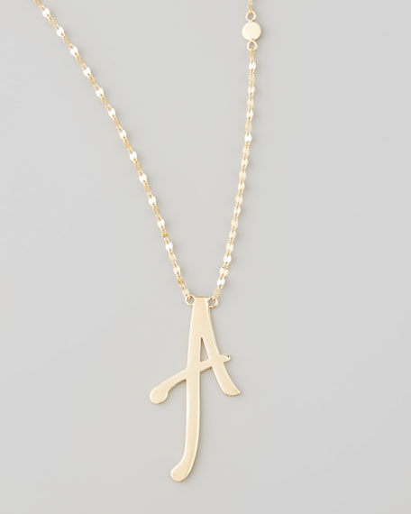 14k Gold Letter Necklace, A
