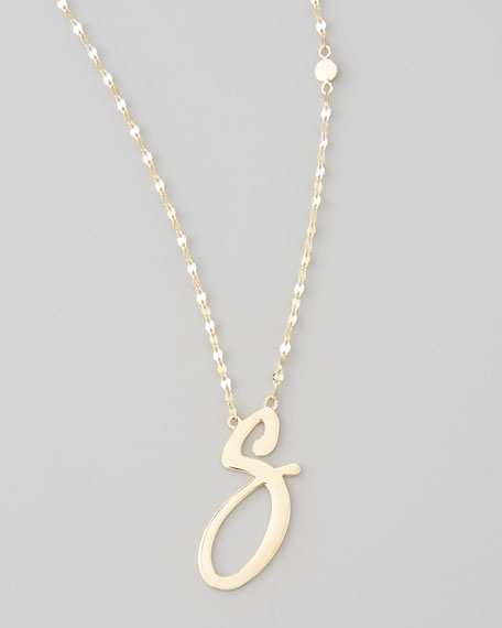 14k Gold Letter Necklace, S