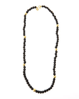 "Ashley Pittman Dark Horn Bead Necklace, 40""L"