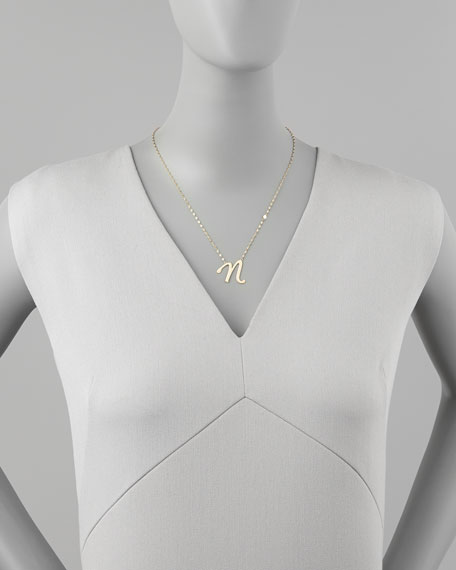 14k Gold Letter Necklace, N