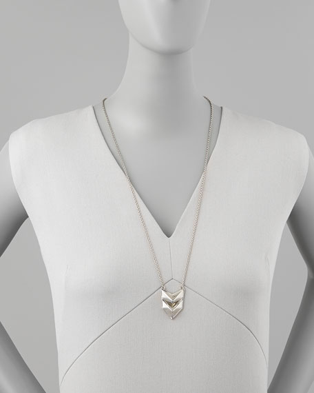 Silvertone Double-Chevron Necklace
