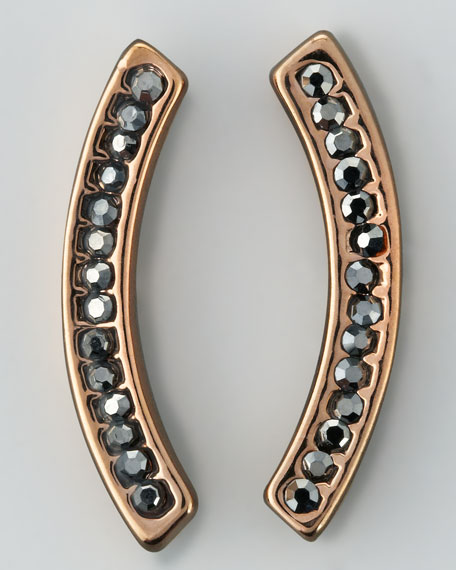 Rose Gold-Plate Pave Curved Comet Earrings