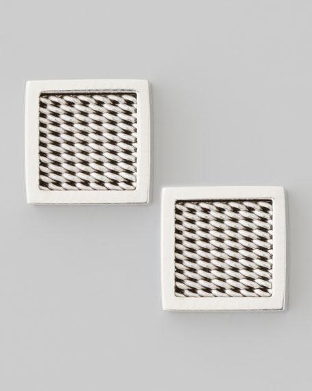 Woven Square Stud Earrings, Silvertone