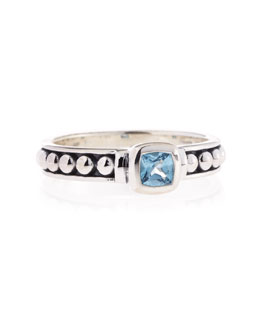 Lagos Blue Topaz Caviar Ring, 4mm