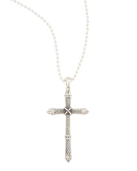 Silver Caviar Cross Pendant Necklace