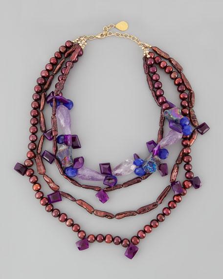 Multi-Strand Plum Pearl Necklace