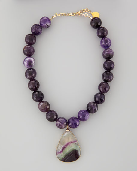 Amethyst-Beaded Fluorite-Pendant Necklace