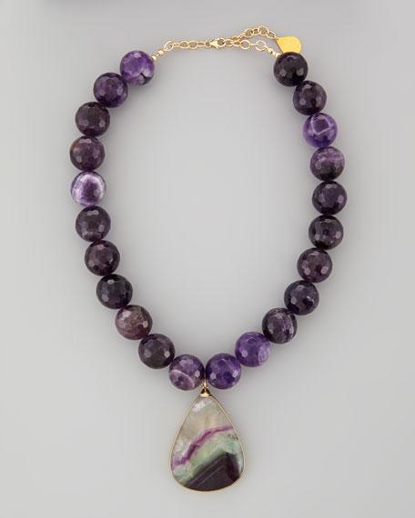 Amethyst-Beaded Fluorite-Pendant Necklace
