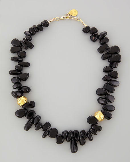 """Black Onyx Up-Down Bead Necklace, 22""""L"""