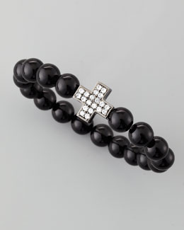 MCL by Matthew Campbell Laurenza Onyx Zircon-Cross Beaded Bracelet