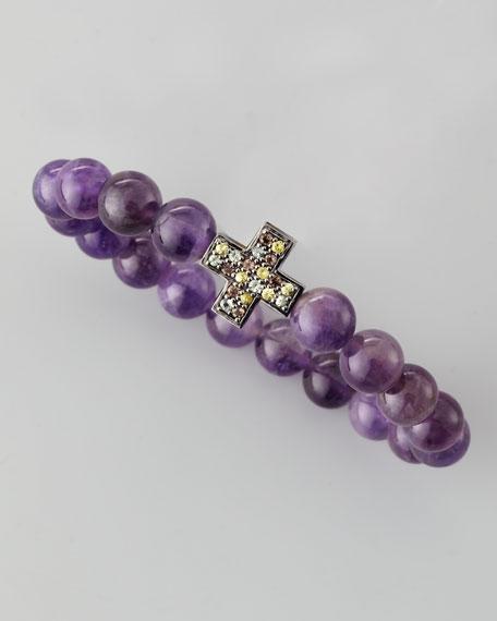 Amethyst Beaded Pave-Cross Bracelet