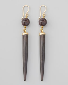 Ashley Pittman Garnet & Dark Horn Drop Earrings