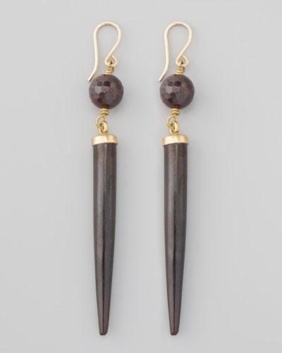Ashley Pittman Garnet & Dark Horn Drop Earrings