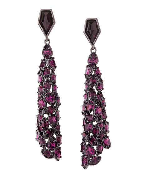 Miss Havisham Purple Crystal Drop Earrings