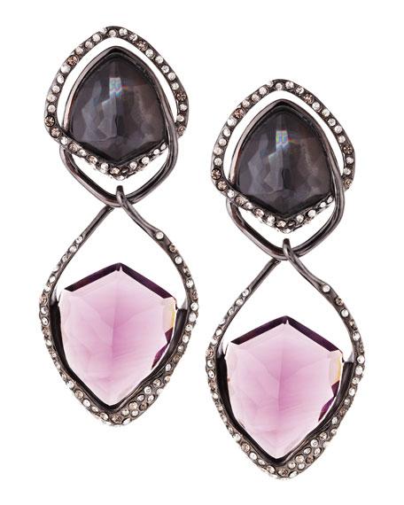 Miss Havisham Orbiting Purple Crystal Clip-On Earrings