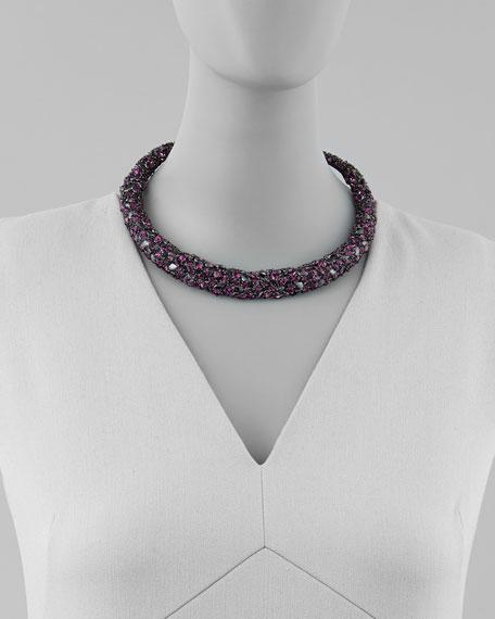 Nova Crystal Hinge Collar Necklace, Black/Purple